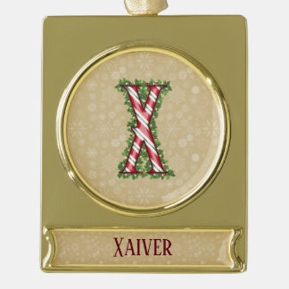 Gold Candy Cane Striped Letter X Gold Plated Banner Ornament