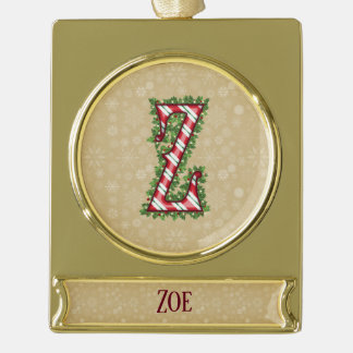 Gold Candy Cane Striped Letter Z Gold Plated Banner Ornament
