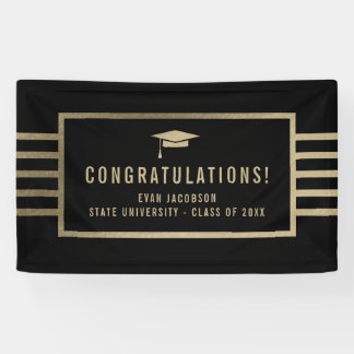 Gold Cap EDITABLE COLOR Graduation Banner