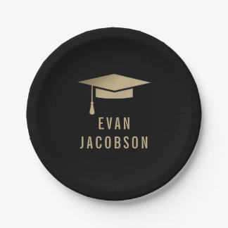 Gold Cap EDITABLE COLOR Graduation Plates