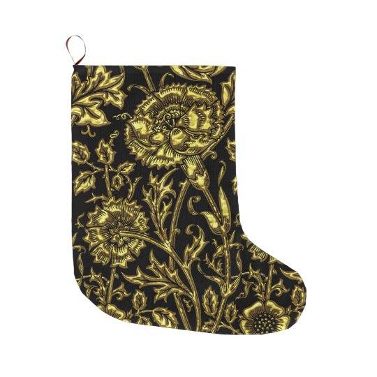 Gold Carnations Floral Chic Large Christmas Stocking