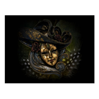 Gold carnival mask with blue hat and feathers postcard