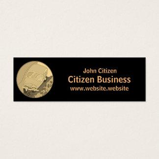 Gold cartoon car on basic black mini business card