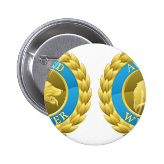 Gold cat and dog pet medals button