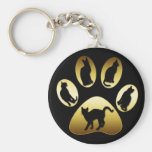 GOLD CAT PAW WITH CATS KEYCHAINS