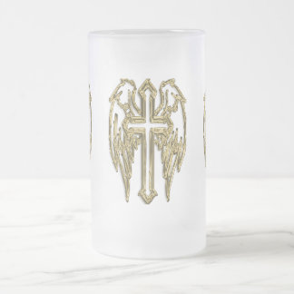 Gold catholic cross with wings frosted glass beer mug