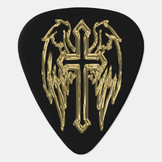 Gold catholic cross with wings plectrum