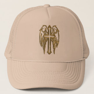 Gold catholic cross with wings trucker hat
