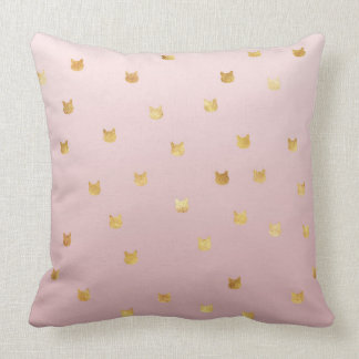 Gold Cats Blush Pink Ombre Cushion