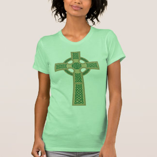 Gold Celtic Cross Ladie's Fitted Tank Top