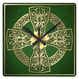 Gold Celtic  Irish Square Clock