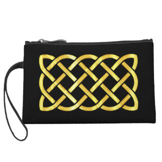 Gold Celtic Knot Against a Black Background Wristlet Clutches