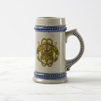 GOLD CELTIC KNOTS WITH TWIN DRAGONS BEER STEIN