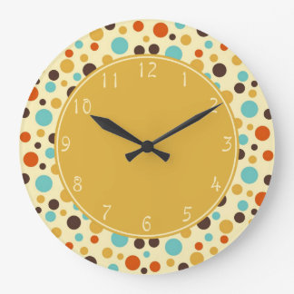 Gold center Polka Dots Retro Blue Yellow Red Clocks