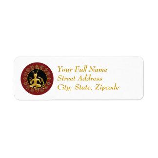 Gold Cernunnos, Holly, & Tri-quatra - Label #1 Return Address Label