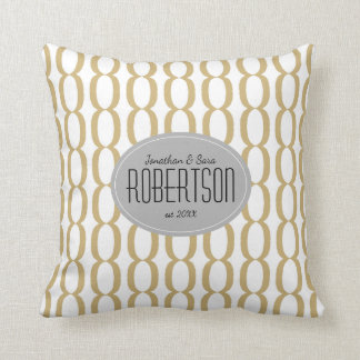 Gold Chain Pattern Newlywed Personalised Throw Pillow
