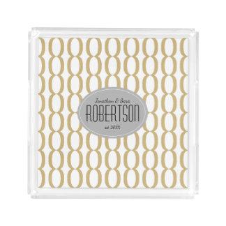 Gold Chain Pattern Newlywed Personalized Acrylic Tray