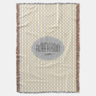 Gold Chain Pattern Newlywed Personalized Throw Blanket