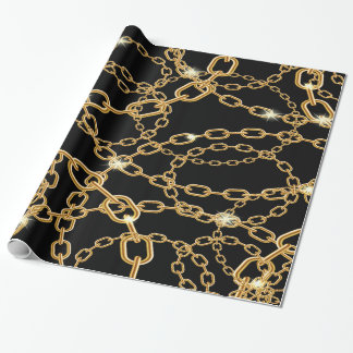 Gold chains on black luxury jewelery with bling wrapping paper