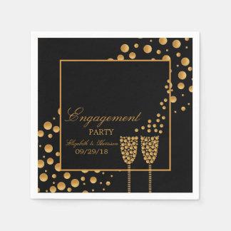 Gold Champagne Bubbles Engagement Party Paper Napkin