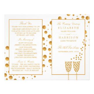 Gold Champagne Bubbles Wedding Bi-fold Program Flyer