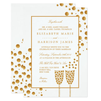 Gold Champagne Bubbles Wedding Card