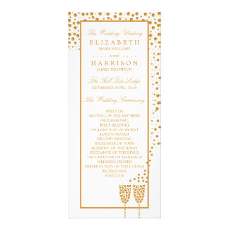 Gold Champagne Bubbles Wedding Program Personalized Rack Card