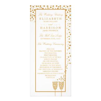 Gold Champagne Bubbles Wedding Program Rack Card