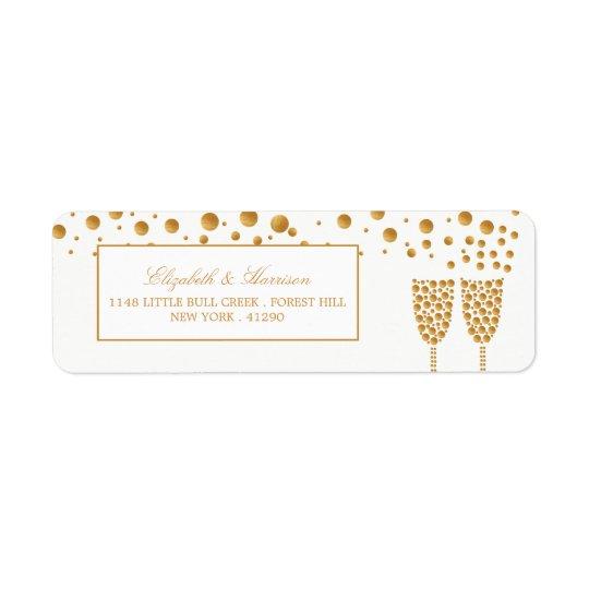 Gold Champagne Bubbles Wedding Return Address Label