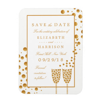 Gold Champagne Bubbles Wedding Save The Date Magnet