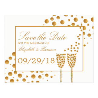 Gold Champagne Bubbles Wedding Save The Date Postcard