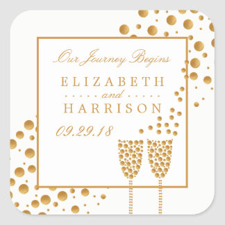 Gold Champagne Bubbles Wedding Square Sticker