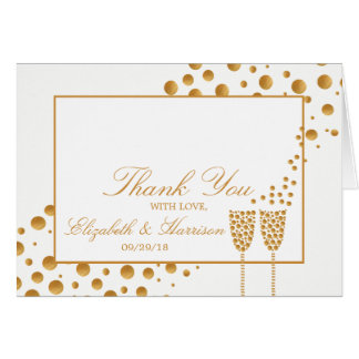 Gold Champagne Bubbles Wedding Thank You Card