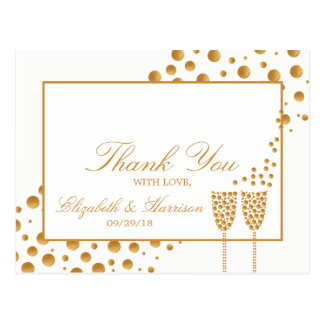 Gold Champagne Bubbles Wedding Thank You Postcard
