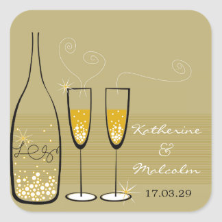 Gold Champagne Bubbly Cheers Chic Wedding Sticker