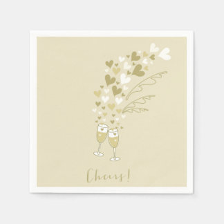 Gold Champagne Cheers Engagement Wedding Party Paper Napkin