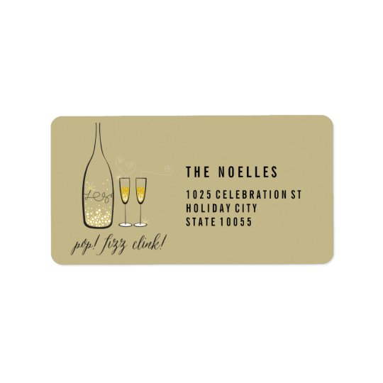 Gold Champagne Cheers Holiday Address Labels