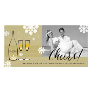 Gold Champagne Cheers Married Holiday Greetings Customised Photo Card