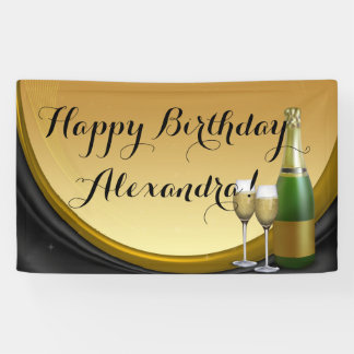 Gold Champagne Custom Birthday Party Banner