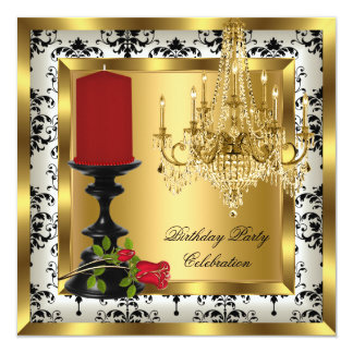 """Gold Chandelier Red Rose Candle Birthday Party 5.25"""" Square Invitation Card"""
