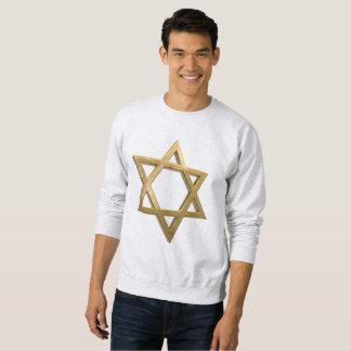 gold chanukkah star of david mens sweatshirt