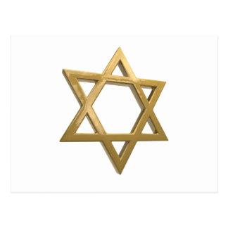 gold chanukkah star of david postcard