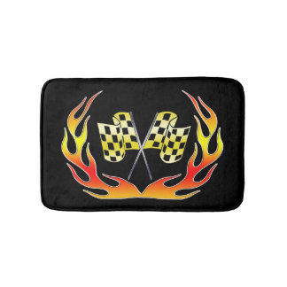 Gold Checkered flag and flames Bath Mat