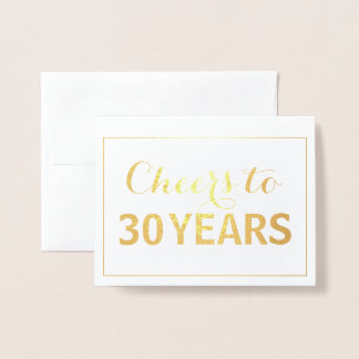 Gold Cheers to 30 Years Birthday Foil Card
