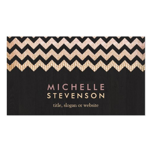 Gold Chevron and Black Wood Grain Look Business Card Template