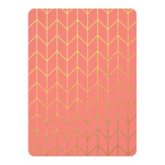 Gold Chevron Coral Pink Background Modern Chic 14 Cm X 19 Cm Invitation Card