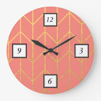 Gold Chevron Coral Pink Background Modern Chic Large Clock