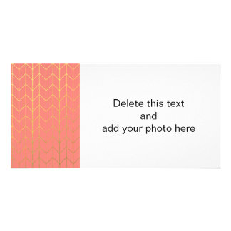 Gold Chevron Coral Pink Background Modern Chic Photo Cards