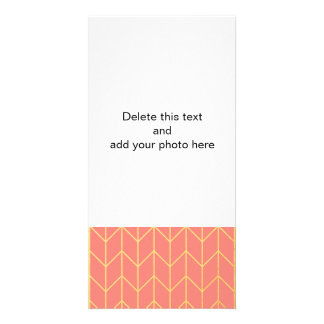 Gold Chevron Coral Pink Background Modern Chic Picture Card