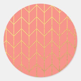 Gold Chevron Coral Pink Background Modern Chic Round Sticker